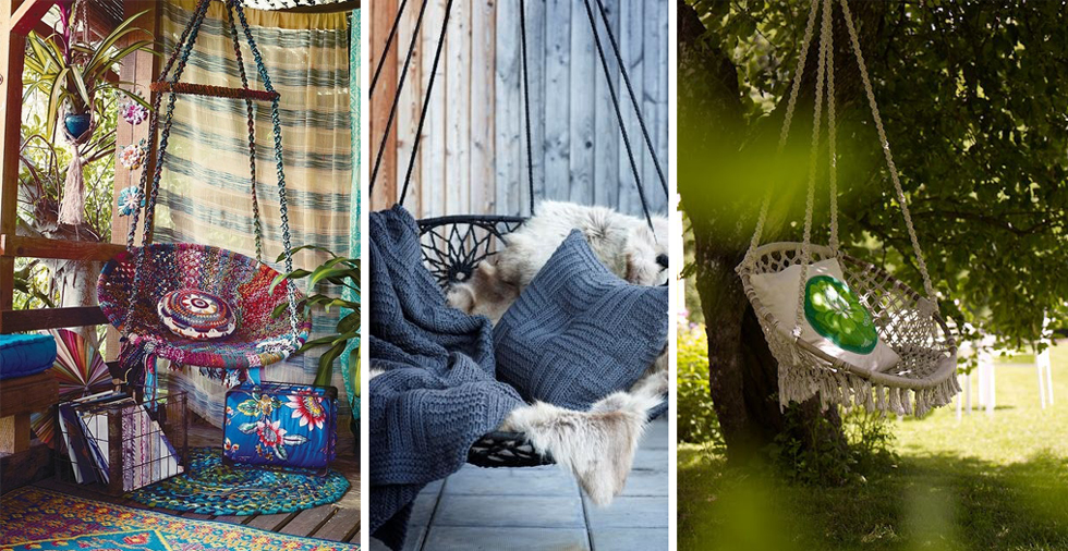 Плетеный круглый гамак для сада