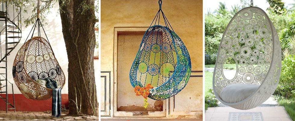 Подвесная садовая качель с элементами ажурного плетения